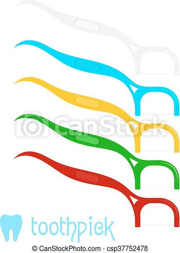 Vector Set Of Colored Dental Floss On A White Background Illustration Tools For