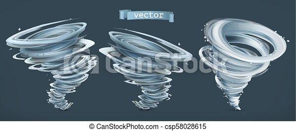set, tornado., uragano, scuro, fondo., vettore, 3d, icona - csp58028615