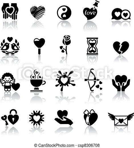 set valentine s day icons love romantic symbols