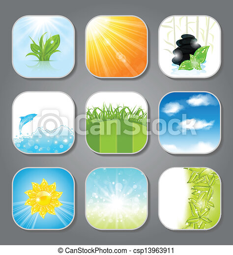 Set various backgrounds for the app icons - csp13963911