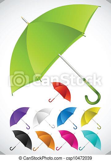 set., vecteur, coloré, parapluies - csp10472039