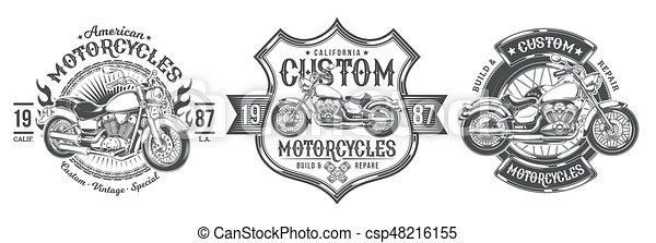 Set vector black vintage badges, emblems with a custom motorcycle - csp48216155