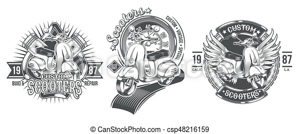 Set vector black vintage badges, emblems with a custom scooter - csp48216159