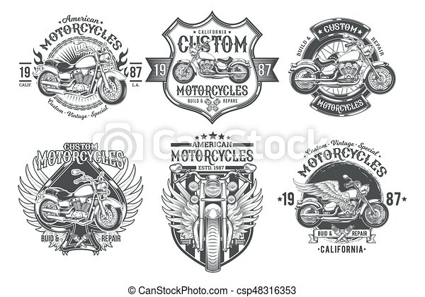 Set vector black vintage badges, emblems with a custom motorcycle - csp48316353