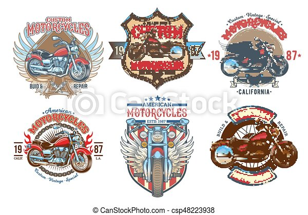 Set vector color vintage badges, emblems with a custom motorcycle - csp48223938