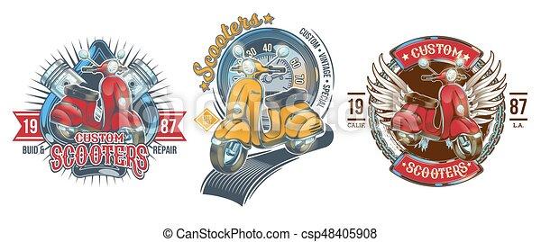 Set vector color vintage badges, emblems with a custom scooter - csp48405908
