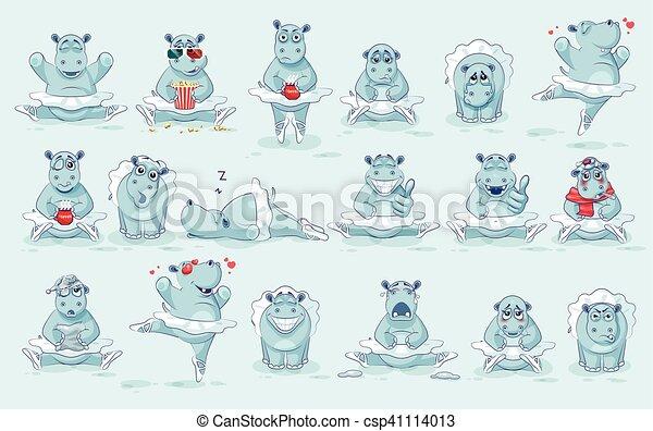 Set Vector Emoji character cartoon ballerina Hippopotamus - csp41114013