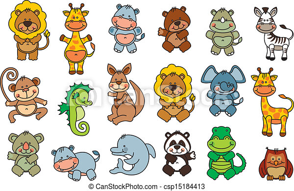funny animals drawings  Set vector funny cartoon animals. Editable and scalable vector set ...