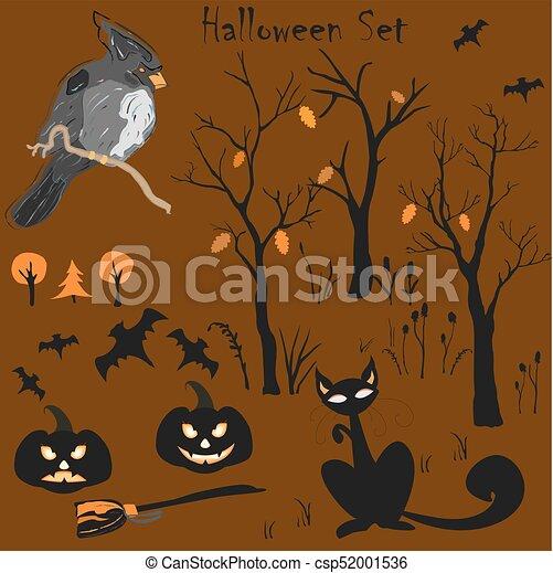Elemento de Halloween. Ilustración de vectores - csp52001536