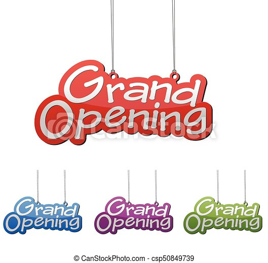 Set vector illustrations isolated tag banner grand opening in four color variant red, blue, purple and green. This element is wel adapted for web design. - csp50849739