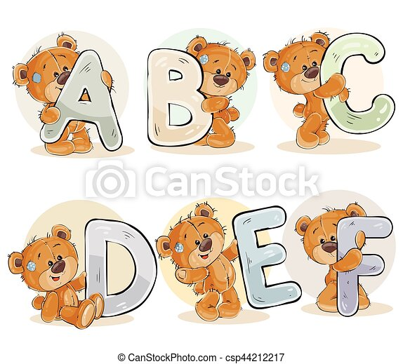 Set vector letters of the English alphabet with funny teddy bear - csp44212217