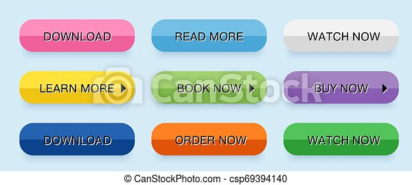 Set vector modern trendy buttons. Flat style. - csp69394140