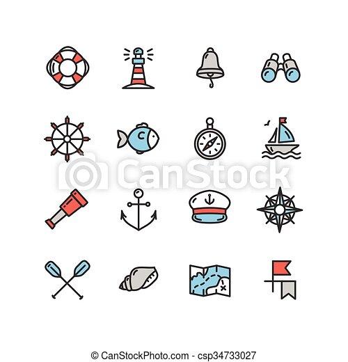 Icono marino náutico. Vector - csp34733027