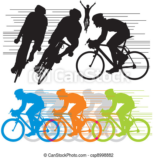 set vector silhouettes cyclists vector illustration search rh canstockphoto com cycling clip art female cyclist clipart