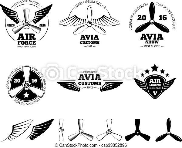 set, vendemmia, etichette, simboli, emblemi, vettore, aeroplano - csp33352896