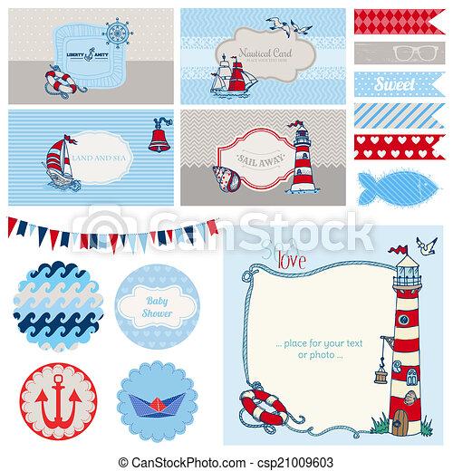 set, versiering, -, douche, vector, plakboek, nautisch, baby, feestje - csp21009603