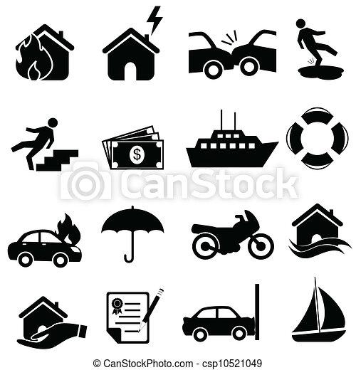 set, verzekering, pictogram - csp10521049