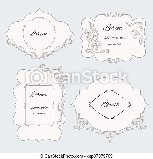 Set Vintage Ornamental Frame Labels With Pattern In The Baroque