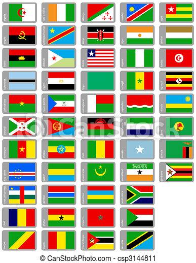 set, vlaggen, afrikaan - csp3144811