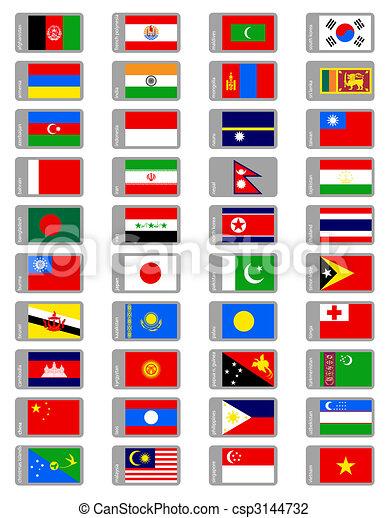 set, vlaggen, aziaat - csp3144732