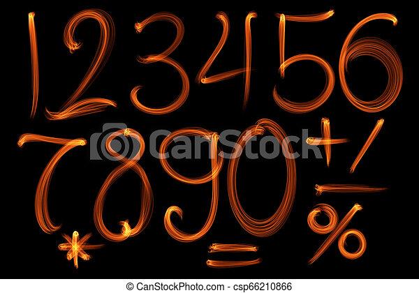 set, vuur, alfabet, verzameling, black , getallen, achtergrond - csp66210866