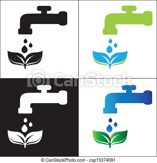 Set water tap with drop - eco sign - csp15374091