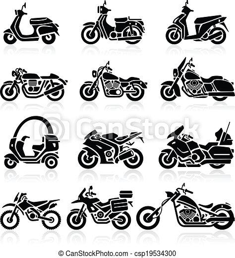 set., wektor, motocykl, ikony - csp19534300