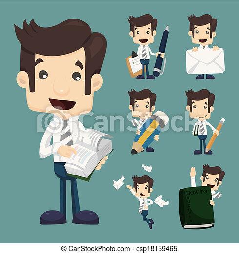 set, werkkring werker, karakters, zakenman, maniertjes - csp18159465