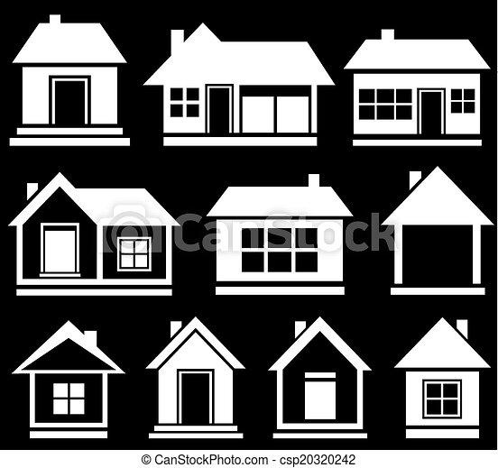 set white house silhouette on black background