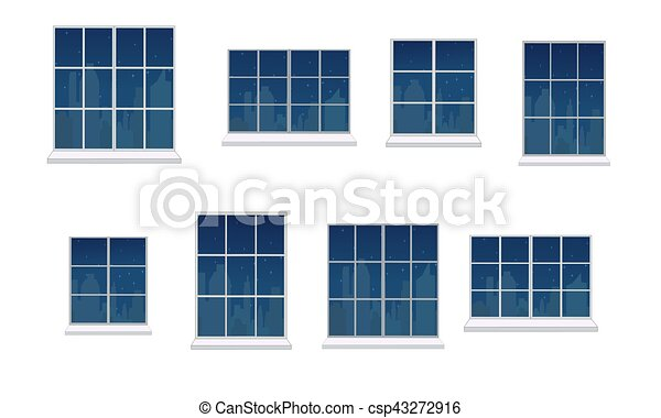 Set window frames. Collection of window frames of various shapes ...