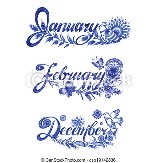 set, winter, naam, maand - csp19142836