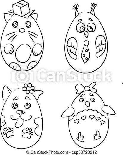 Set With 4 Cute Animals In A Shape Of Easter Eggs For Coloring Pages There