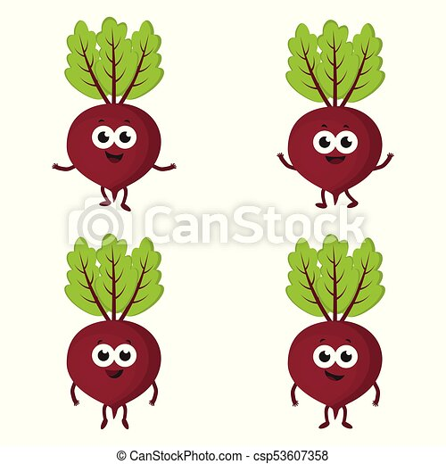 Set With Cartoon Beets Red Funny Vegetables On White Background