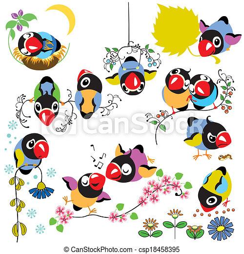set with cartoon birds - csp18458395