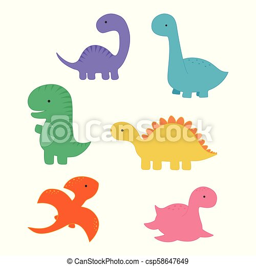 Set With Cartoon Dinosaurs Funny Dinosaur Cartoon Group Fashion For The Baby Cute Dinosaur Card For Any Design
