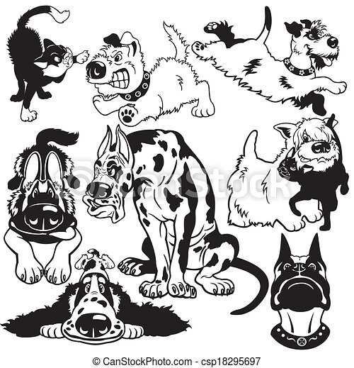 set with cartoon dogs black white  - csp18295697