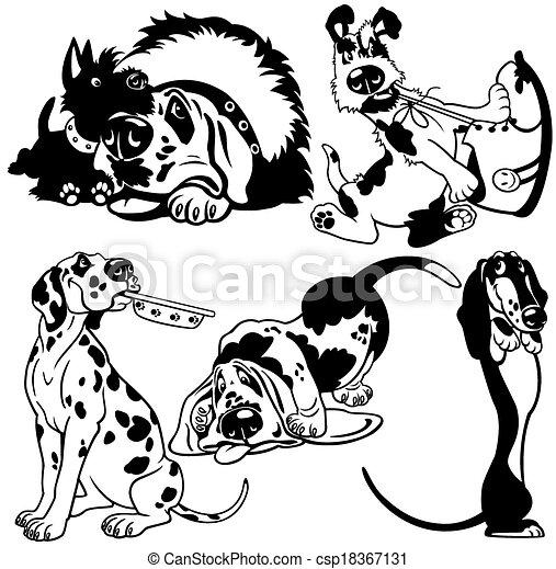 set with cartoon dogs - csp18367131