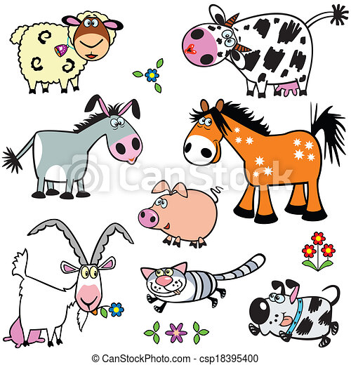 set with cartoon farm animals - csp18395400