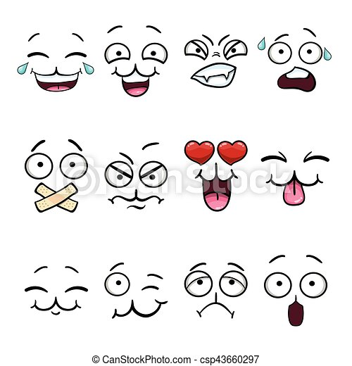 Set with cartoon smiley face - csp43660297