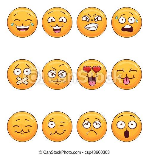 Set with cartoon smiley face - csp43660303