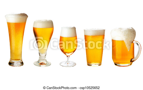 set with different glasses of beer on white - excellent quality - csp10525652