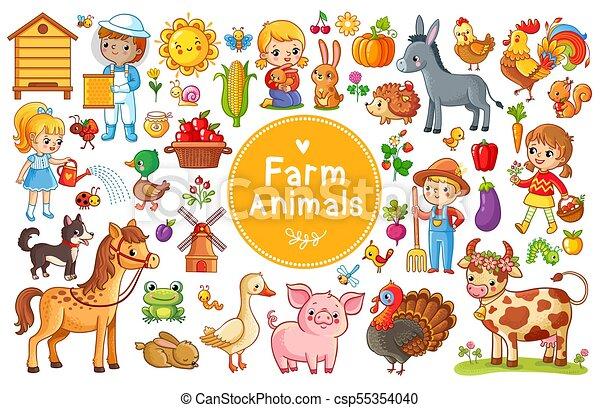 Set with farm animals. - csp55354040