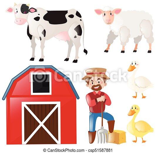 set with farmer and farm animals illustration vector search clip rh canstockphoto com farm animals clipart for kids farm animal clipart images