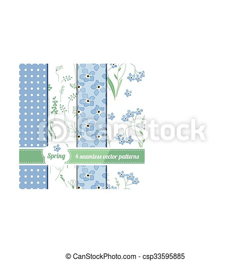 Set with four seamless spring patterns with blue flowers forget me knots  - csp33595885