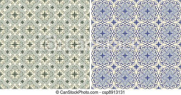 set with four vector seamless floral spring patterns - csp8913131