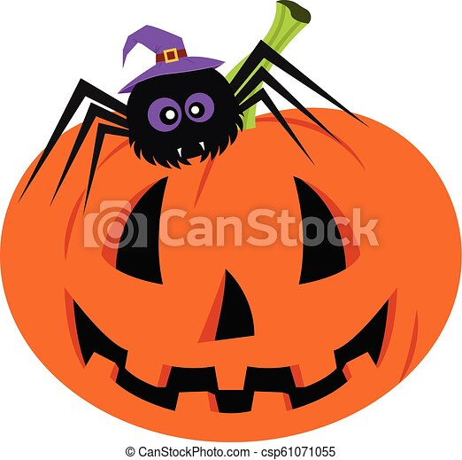 Set With Halloween Pumpkin And Spider Background Is Separate Happy Halloween Day Set With Halloween Pumpkin And Spider