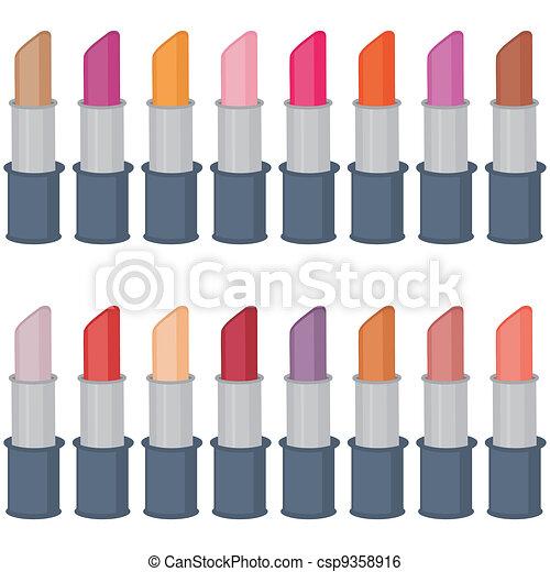 set with lipsticks on white - csp9358916