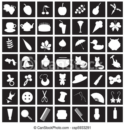set with many different icons - csp5933291