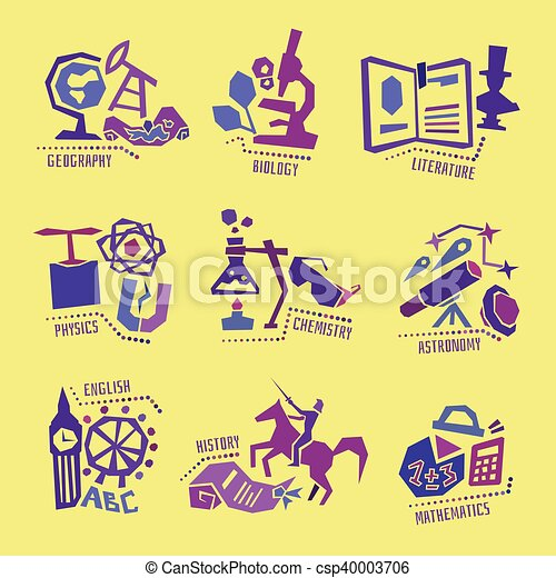set with school subjects icons for design vector set with school