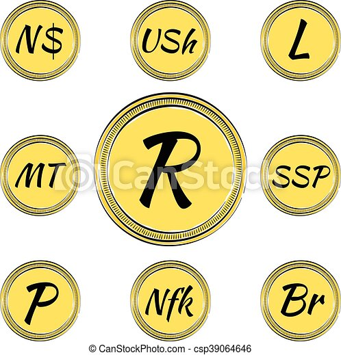 Set With South African Currency Symbols Set Of Coins With Symbols